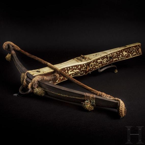 A South German bone-inlaid Renaissance crossbow with hunting motifs, circa 1600/20