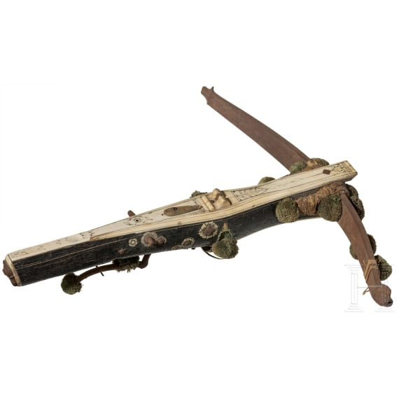 A Saxon bone-inlaid crossbow with ebony veneer, 17th century