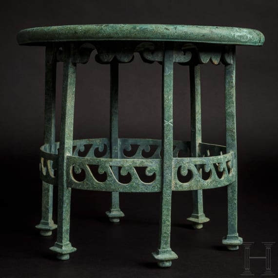 An excellently preserved Roman bronze stool, 1st century