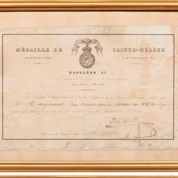 Six documents for the Saint Helena medal