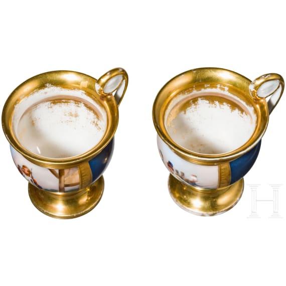 Kaffeekanne und zwei Tassen mit patriotischen Szenen, um 1813