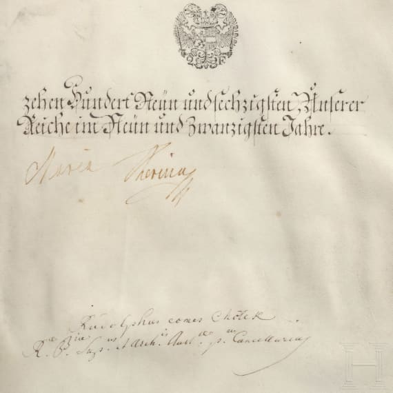 Empress Maria Theresia – a patent of nobility for Captain Franz Auracher von Aurach, dated 1769