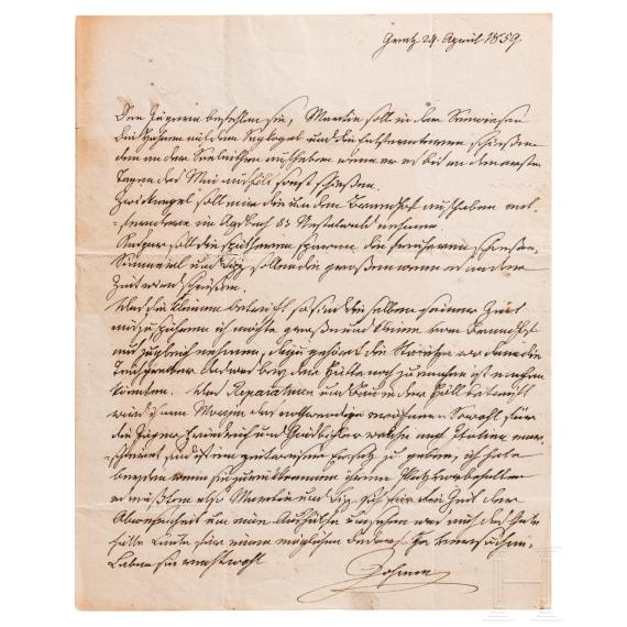 Archduke Johann of Austria (1782-1859) – a handwritten letter with huntsman instructions dated April 24, 1859
