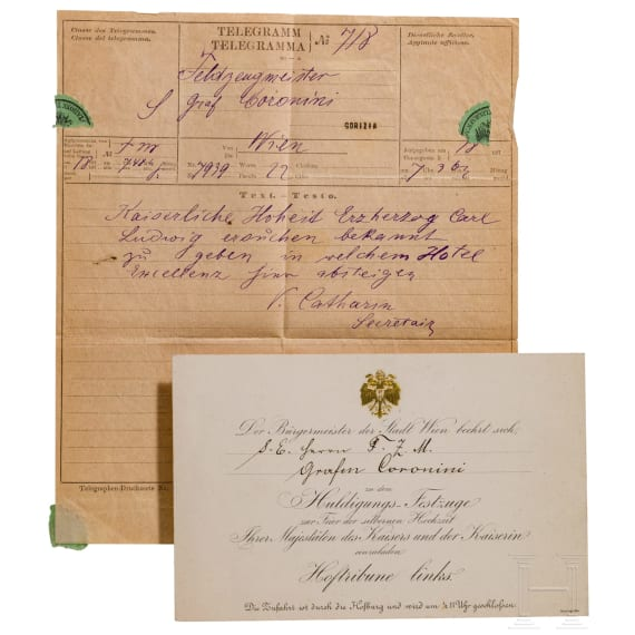 Reichsgraf Johann Baptist Alexius Graf Coronini von Cronberg (1794-1880) – an invitation card of the city of Vienna to the festive procession on occasion of the silver wedding celebration of the Emperor and Empress in 1879 as well as a telegram