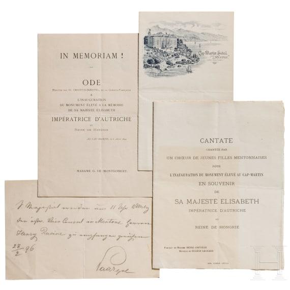 Emperor Franz Joseph I and Empress Elisabeth of Austria – documents Cap Martin/Menton, 1896/99