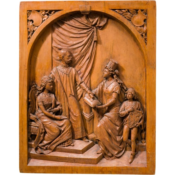 Emperor Franz Joseph I and Empress Elisabeth of Austria – a wood carved depiction of the imperial couple