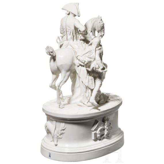 """Porzellangruppe """"Friedrich der Große zu Pferd mit Husar"""", Meißen, 20. Jhdt."""