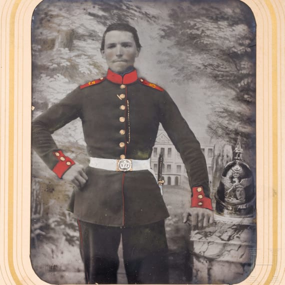 A partially colored photo of a soldier of the 3rd Infantry Regiment Margrave Ludwig Wilhelm