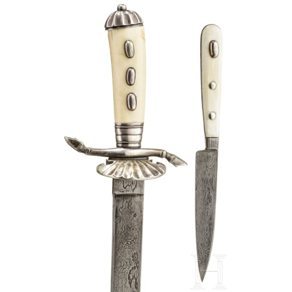 Grand Duke Friedrich Franz IV of Mecklenburg-Schwerin (1882-1945) - a Prussian court hunting hanger with Damascus blade and ivory grip, circa 1910