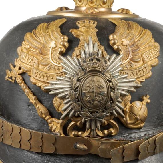 Helm für einen Offizier im 7. Thüringischen Infanterie-Regiment Nr. 96, II. Bataillon (Fürstentümer Reuss), um 1910