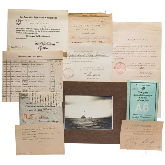 Captain Lieutenant Ludwig Fabricius (1885-1966) – a bicorne with case and documents