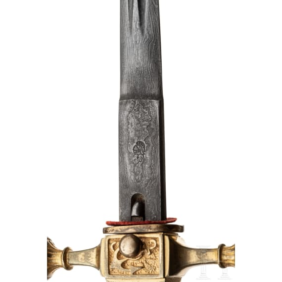An officer's dagger with damascus blade and ivory grip, made by WKC Solingen