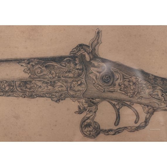 Ferdinand Claudin, Entwurfszeichnung für den Schaft einer Luxusflinte, Paris, datiert 1885
