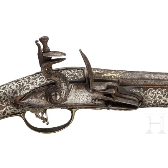 An Ottoman silver-mounted flintlock pistol, 18th century