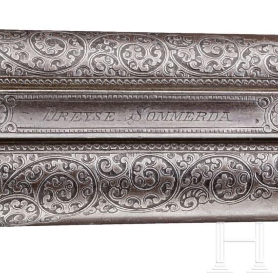 A Franz von Dreyse needle-fire side-by-side shotgun, Sömmerda, circa 1880