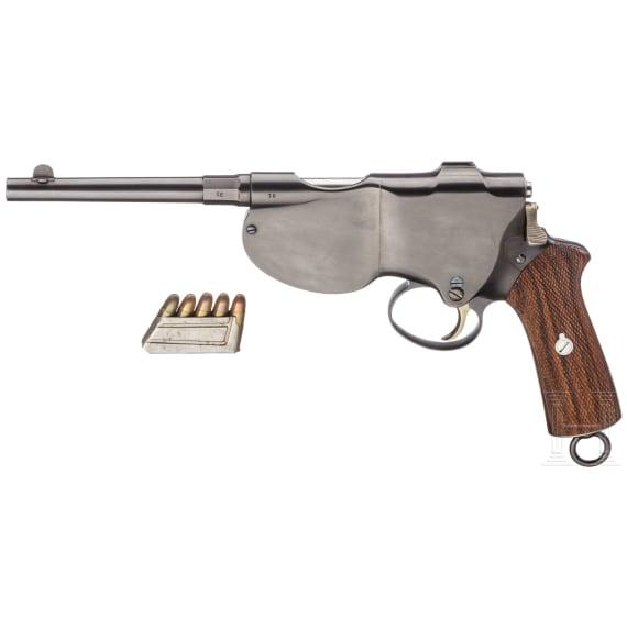 Schönberger-Laumann Mod. 1894-II (die erste Selbstladepistole!), mit Laderahmen