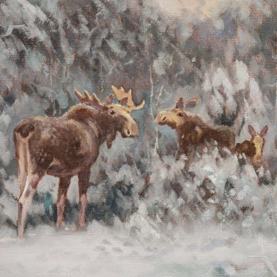 """Henning Hougaard (1922-95), a painting """"Moose in Winter Landscape"""""""