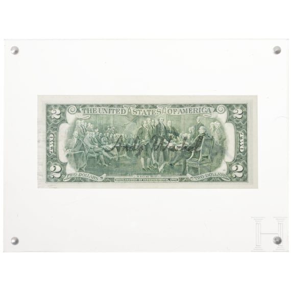 Andy Warhol - 2 Dollar Bill, signed and stamped, USA, 1976