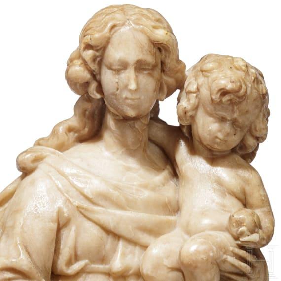 Madonnenfigur mit Jesuskind, Alabaster, flämisch, 16./17, Jhdt.