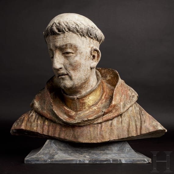 An Austrian bust of a monk, possibly St. Francis, attributed to Johann Meinrad Guggenbichler, 17th/18th century
