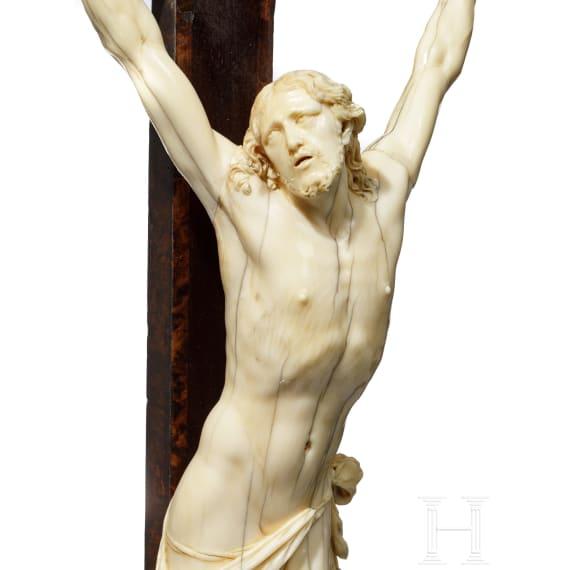 An Italian ivory crucifix, a present from Ferdinand IV, Grand Duke of Tuscany, circa 1700