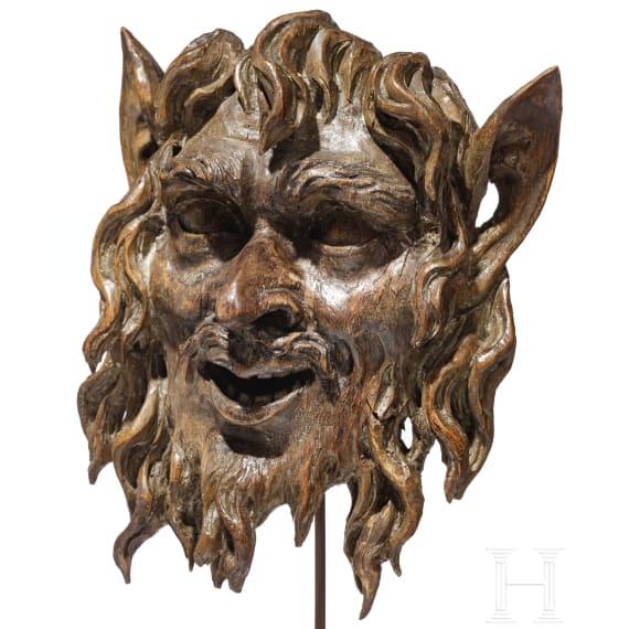 An Austrian face of a satyr, probably Viennese, circa 1700