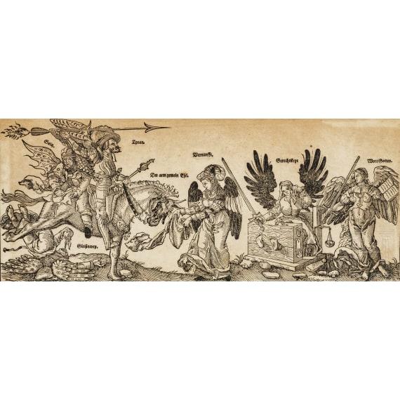 Three framed German prints, 16th - 18th century