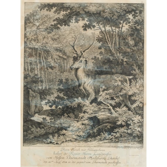 Five hunting engravings, Johann Elias Ridinger, Augsburg, circa 1760