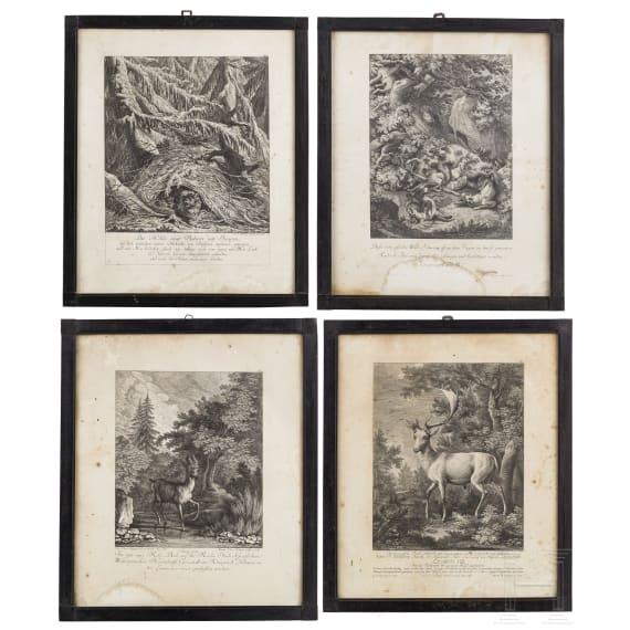 Four hunting engravings, Johann Elias Ridinger, Augsburg, circa 1760