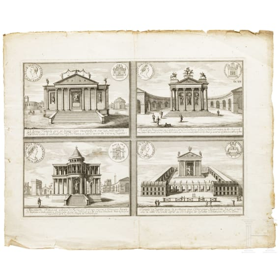 Six German and French copper engravings showing architectural depictions, 18th century