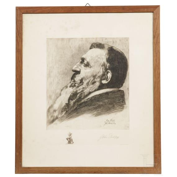 John Phillipp - a signed etching portrait of Auguste Rodin, 1909
