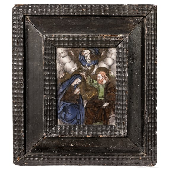 An early German reverse glass painting, 1st half of the 17th century
