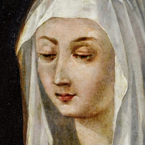 An old master painting of an abbess, probably French, 17th century