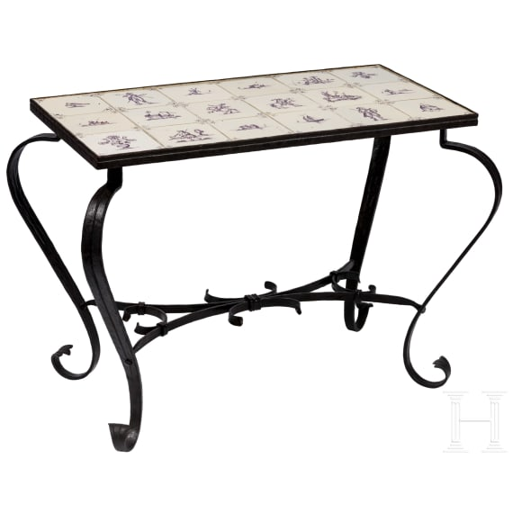A forged iron side table with Delft tiles, circa 1900