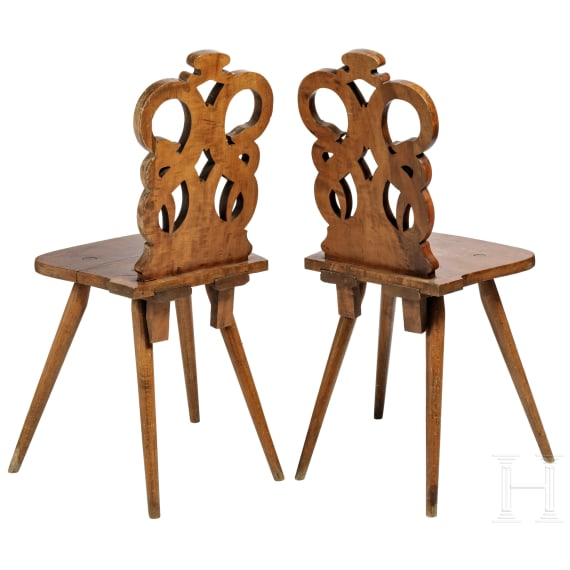 A pair of Hessian chairs, 19th century