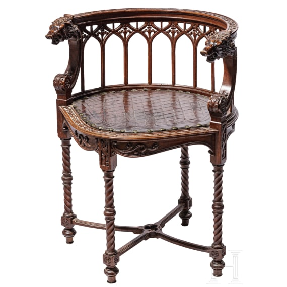 An English chair decorated with hunting motifs, mid-19th century
