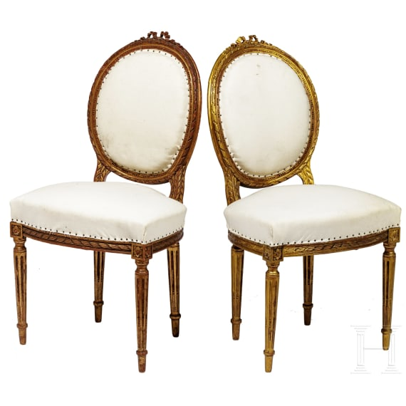 A pair of German padded chairs in Louis XVI style, 20th century