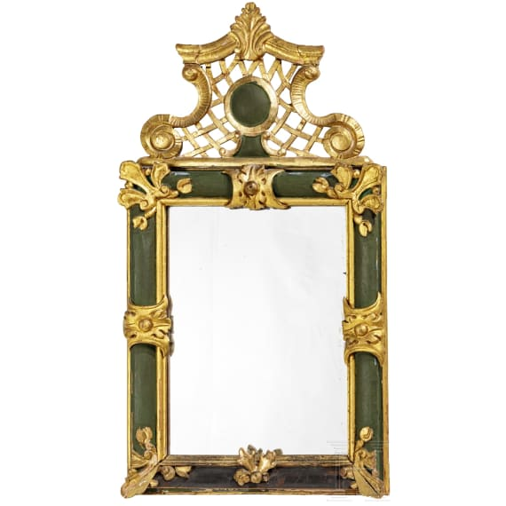A southern German mirror with carved wooden frame, 2nd half of the 18th century
