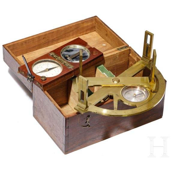 Graphometer in Kasten und Kompass, Frankreich, um 1900