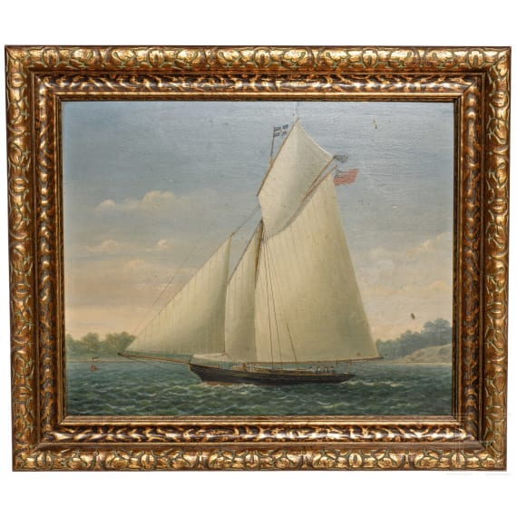 Berliner Regatta-Verein 1881 - a trophy and a painting of the winning boat, dated 1883