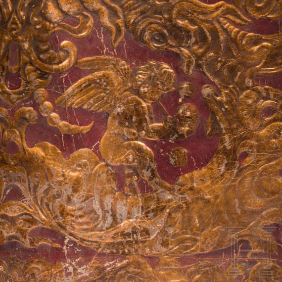 Two fragments of embossed leather wallpaper, German, 17th century