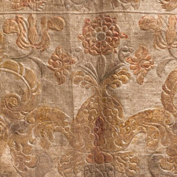 Three fragments of leather wallpaper, German, 17th century