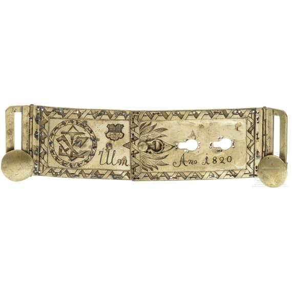 A carpenter's belt buckle, Ulm, dated 1820