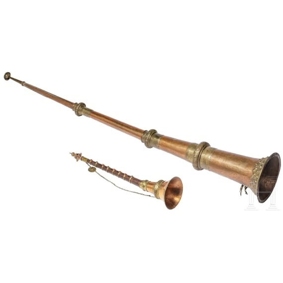 A Tibetan/Nepalese ceremonial horn and -flute, 20th century