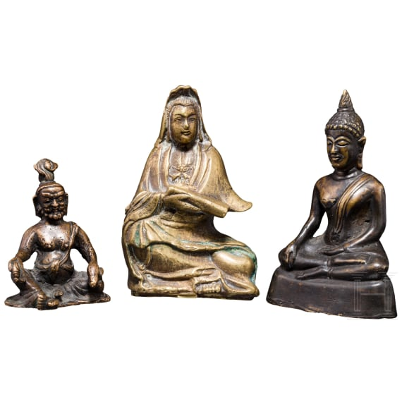 Three figurines for house altars, China/Nepal, 19th/20th century