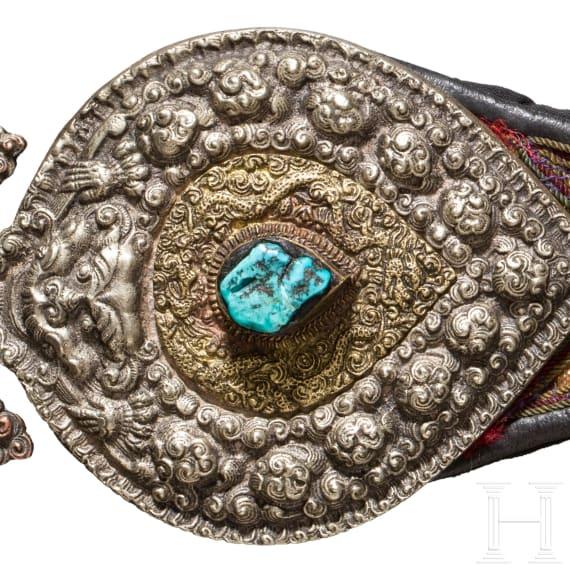 Silver belt fitting, Tibet, circa 1900