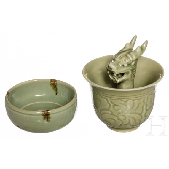Two Chinese Longquan bowls, Ming dynasty and 19th – 20th century