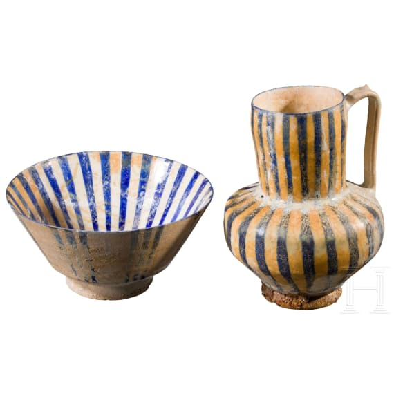 A Kashan jug and bowl with striped decoration, Iran, 12th - 13th century
