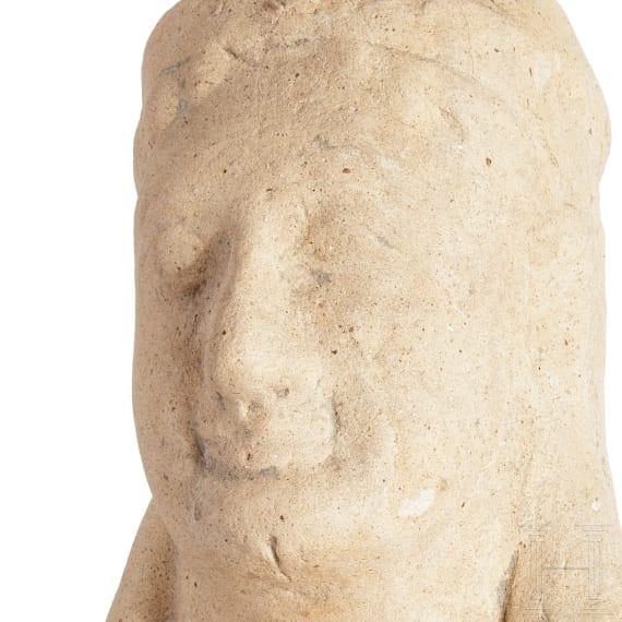 A late Archaic Greek terracotta head of a Kore, 5th century B.C.