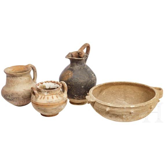 Four ceramic vessels from various cultures, 2nd - 1st millenium B.C.